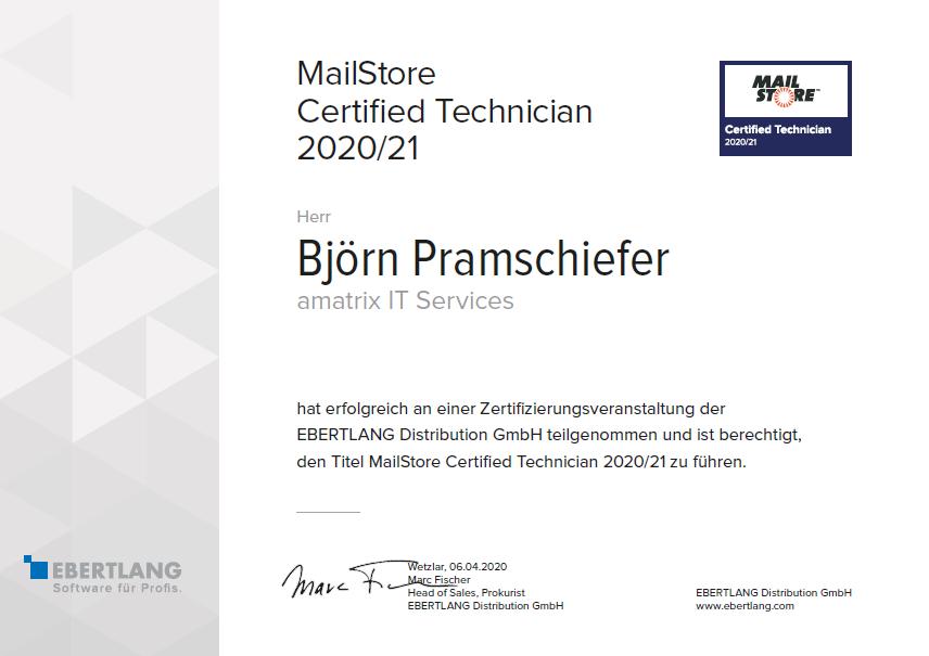Mailstore Certified Technician - Björn Pramschiefer